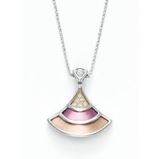 日本初 紫色の18金 K18ホワイトゴールド・イエローゴールド・パープルゴールドダイヤモンド入りネックレス