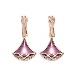 日本初 紫色の18金 K18ピンクゴールド・パープルゴールドダイヤモンド入りイヤリング