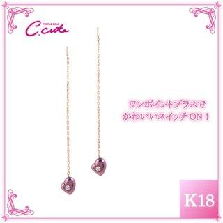 日本初 紫色の18金 K18ピンクゴールド・パープルゴールドダイヤモンド入りピアス