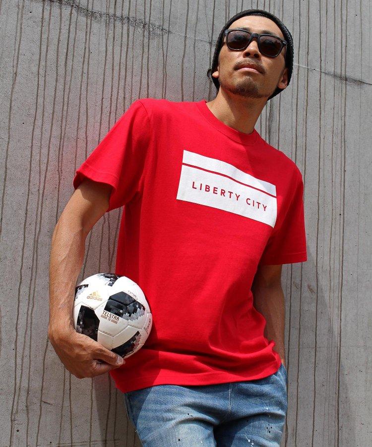 【LIBERTY CITY/リバティーシティ】 [BOX LOGO] Tシャツ <ブルー・イエロー>