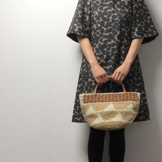 持ち手ラタンの麻紐トートバッグ【マルシェ】スカラップ2段/オフ白×ベージュ