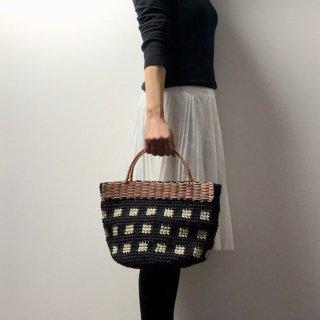 持ち手ラタンの麻紐トートバッグ/カゴバッグ【マルシェ】チェック/黒×オフ白