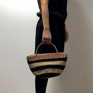 持ち手ラタンの麻紐トートバッグ【マルシェ】ボーダー/黒×ベージュ