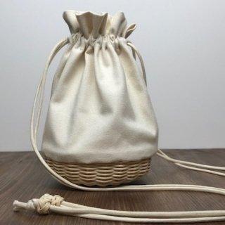 帆布とラタンの巾着バッグ/ショルダーバッグ/斜め掛けバッグ/ポシェット【小】キナリ