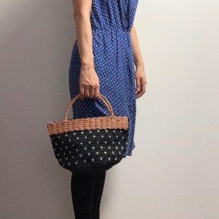 持ち手ラタンの麻紐トートバッグ【マルシェ】ツブツブ/黒×オフ白