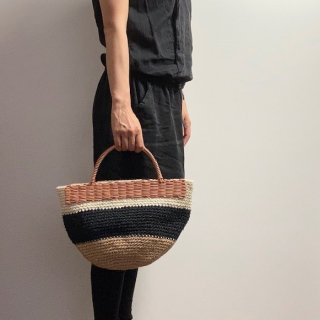 持ち手ラタンの麻紐トートバッグ【マルシェ】マルチ/ベージュ×黒×オフ白