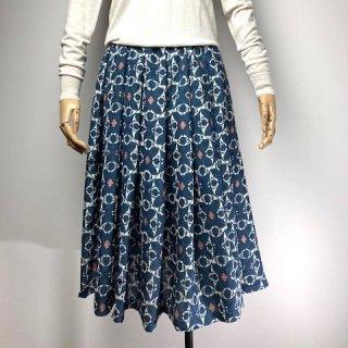 【着物リメイク】ギャザースカート/紺×オフ白×サーモンピンク