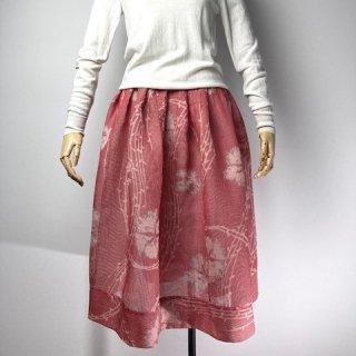 【着物リメイク】ギャザースカート/赤×白チェックにグレー花