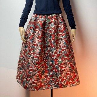 【着物リメイク】タック&ギャザースカート/オフ白地に草花・建物