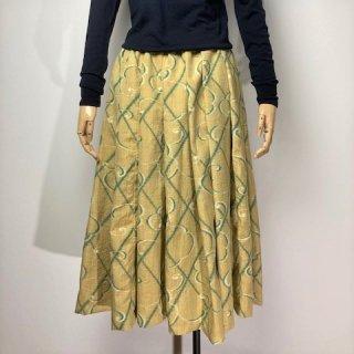【着物リメイク】タック&ギャザースカート/カラシ地にグリーン・オフ白抽象柄