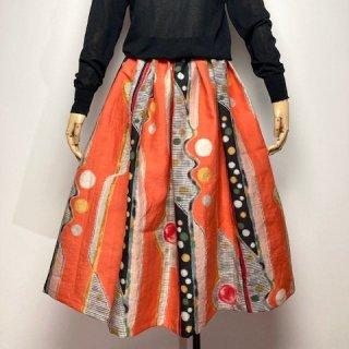 【着物リメイク】タック&ギャザースカート/オレンジにドット・チェック・抽象柄