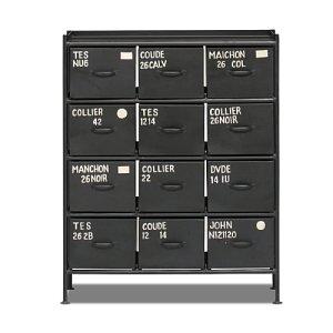 スチールチェスト<ienowa/縦型12杯引出チェスト MSG BK色>[送料無料]
