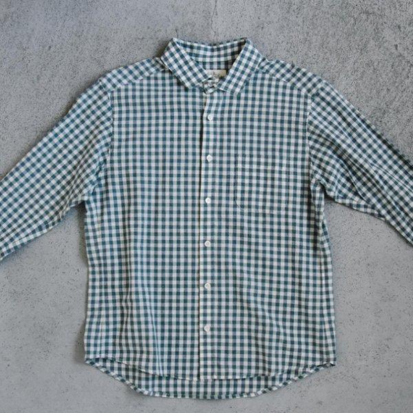 megulu シャツ 緑 x 紺 ギンガム(メンズ)