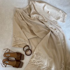 SELECT cotton linen embroidery one-piece