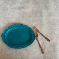 益子焼 Turquoise Oval Plate