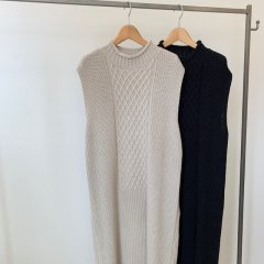SELECT slit cable knit one-piece