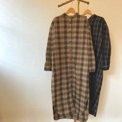 SELECT bandcollar check shirt one-piece