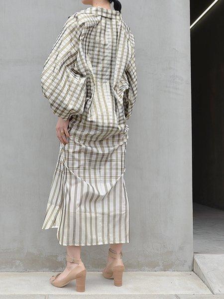 MameKurogouchi Chequered Puff Sleeve Dress