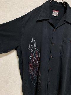 "1990's ""DEVLIN"" S/S Fire Pattern Shirt Rayon Shirt Bowing Shirt"