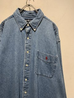 """Ralph Lauren"" L/S One Point Denim Shirt"