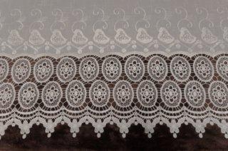 【生地】カーテン 生地 ヨーロピアン調 幅260cm アンティーク 裾モチーフレース オフホワイト