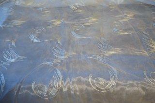 【生地】渦巻き模様 金糸刺繍レース布地カーテン 幅250cm×丈280cm 白 輸入生地