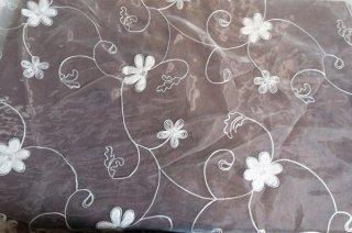 【生地】端切れ*花模様 コード刺繍チュールレース 布地 カーテン 80cm×140cm 白 輸入生地