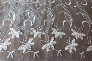 【生地】難あり*花蔦模様 刺繍 チュールレース 布地 カーテン 幅900cm×丈130cm 白 輸入生地 切れ込みあり