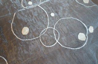 【生地】端切れ*リング刺繍 シフォン 布地 60cm×280cm 白 輸入生地