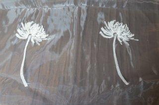 【生地】端切れ*タンポポ 花刺繍チュールレース 布地 カーテン 幅60〜90cm×丈295cm 白 輸入生地