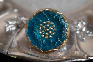 【ボタン】チェコ ヴィンテージ ガラスボタン ダリア柄? ブルー