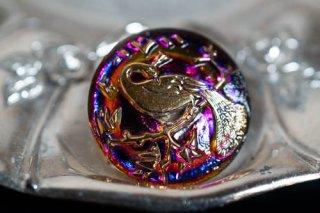 【ボタン】チェコ ヴィンテージ ガラスボタン 孔雀 赤紫色