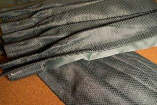 【生地】ブルーグリーン 細かいチェッカー柄 厚手のカーテン 幅56cm×丈212cm 輸入生地