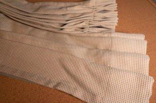 【生地】赤茶×ベージュ 細かい格子柄 厚手のカーテン 幅58cm×丈227cm 輸入生地