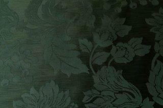【生地】フォレストグリーン 高級感のある大柄の花実模様 ドイツ製ジャガード生地 42×30cm ランチョンマット、ティーマットに