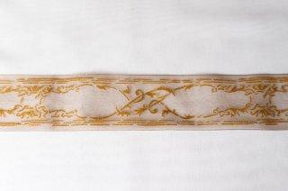 【リボン】メーター売り*MOKUBA 木馬 カーキに金の装飾模様 オーガンジー リボン 幅4cm