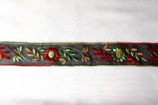 【リボン】メーター売り*黒オーガンジー チロリアン風 花刺繍 フランス製 リボン 幅3.7cm