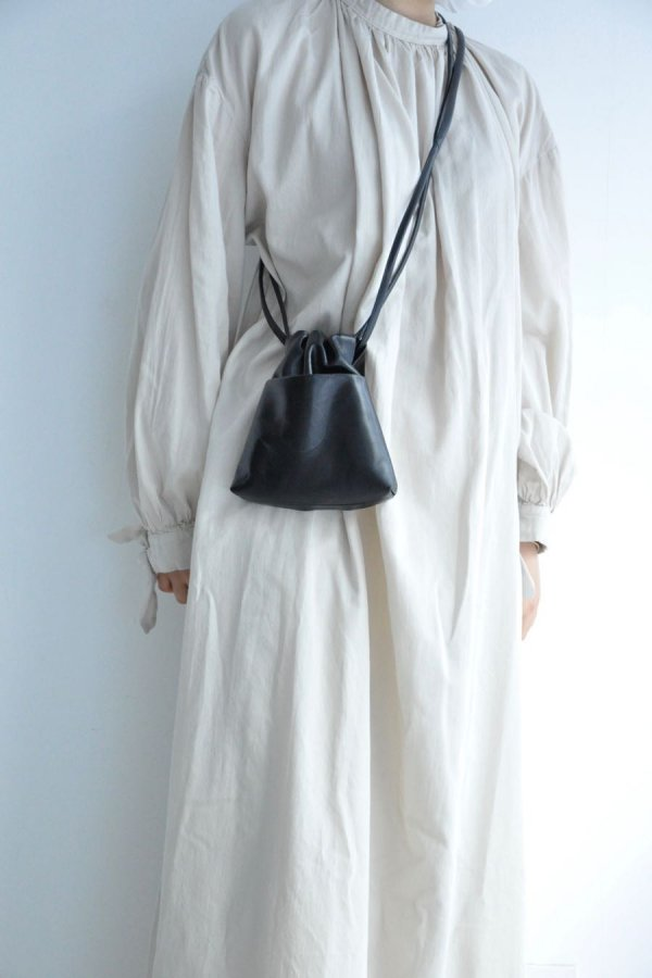 COSMIC WONDER / LIGHT LEATHER DRAWSTRING BAG / BLACK