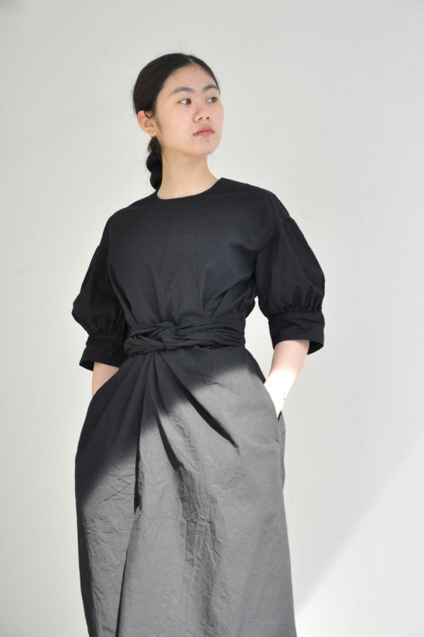 COSMIC WONDER / BEAUTIFUL ORGANIC COTTON WRAPPED DRESS / BLACK