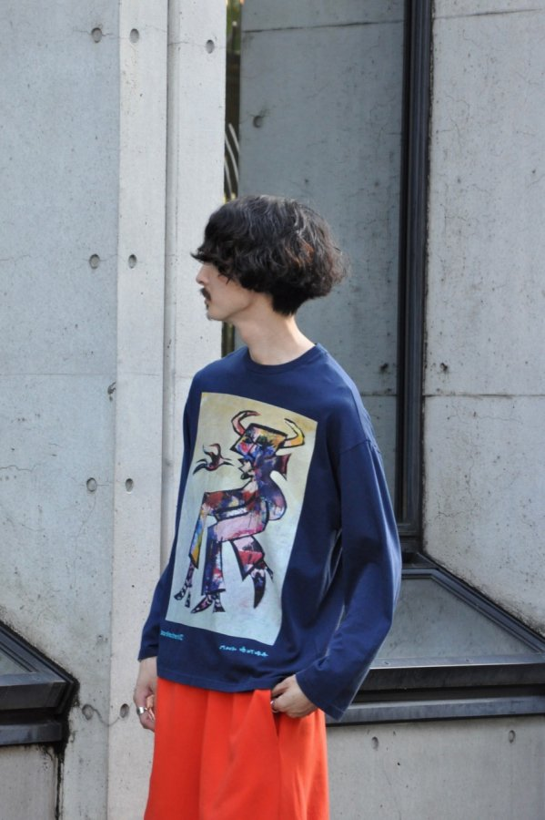 PUGMENT / OVER LAID DOUBLE T-SHIRT / BEIGE*GREEN