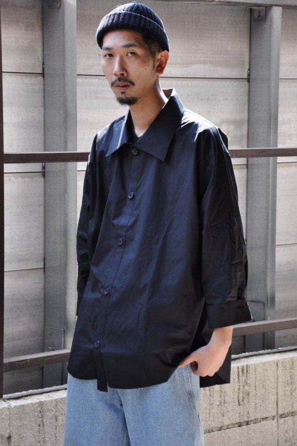 PAPERMEN / PLAIN BUTTON SHIRT 02 / BLACK
