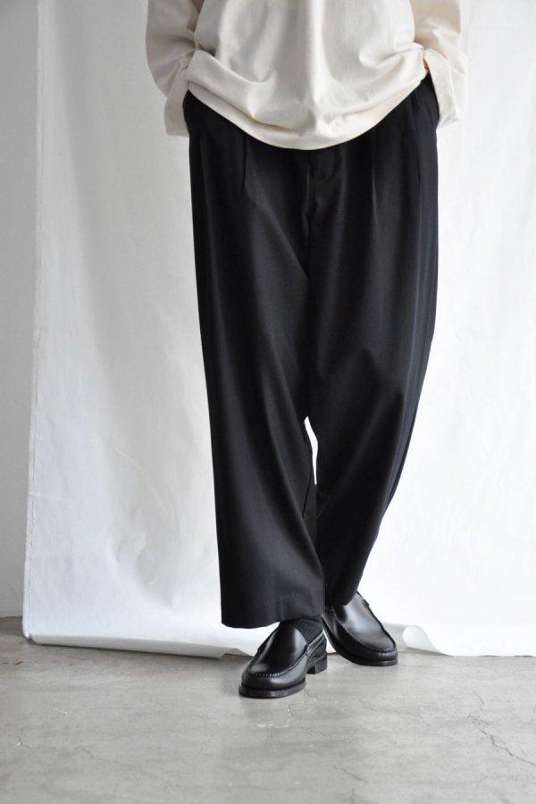 VOAAOV / WASHEABLE WOOL WIDE PANTS / BLACK