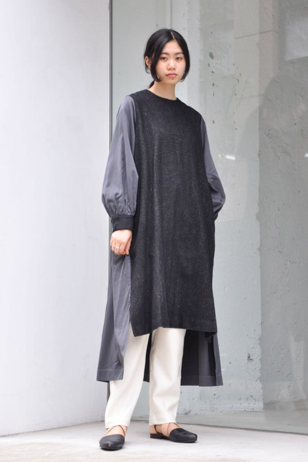 COSMIC WONDER / BEAUTIFUL LINEN WOOL RITUAL DRESS / BLACK