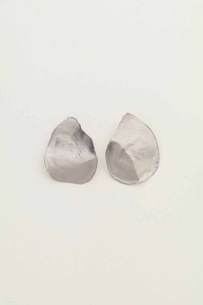Irregular shape single earrings (silver)