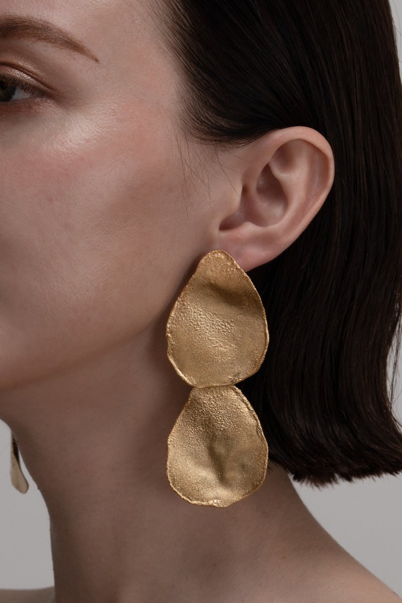 Irregular shape double earrings (gold)