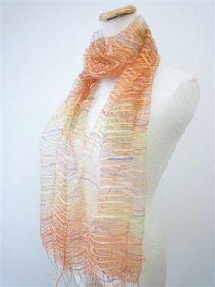 ふわっとやわらかシルクに先染色糸を織り込んだ大判スカーフ CオレンジXイエロー FS-228-C