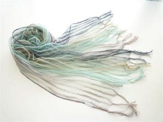 透けるシルクにコットンスラブストライプのグラデーション染めのスカーフ♪FS221- D:ウスグレーXブルーグリーンXグリーンXブルーイッシュグレー