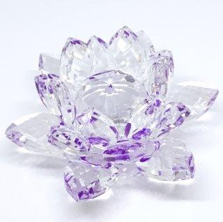 クリスタルガラス蓮華台パープル