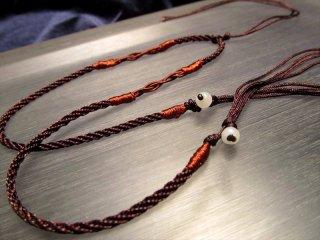 ◆天珠・天然石が装着可能!◆デザイン組み紐ネックレス◆ ビーズ装飾ブラウンカラー◆サイズ調節付き◆首周りサイズ35-65cm◆タイプJ◆