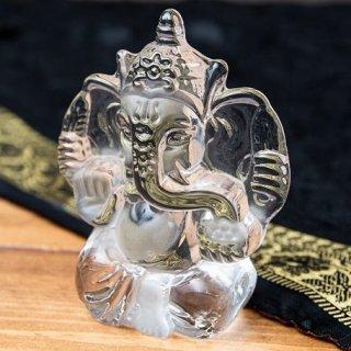 インドの神様 ガラス製ペーパーウェイト〔8cm×10.5cm〕 - ガネーシャ